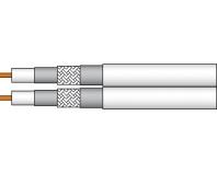 AC 852-100S ,Twin-Koaxialkabel mit Metermarkierung, PVC-Mantel weiß, 100m Spule,  Preis incl.CU