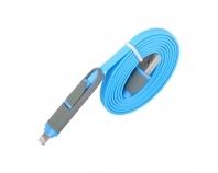 IMB10 blau, USB - Micro-USB-/Lightning, Flachkabel, 1,0m
