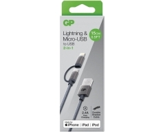 GP 0,15 m, Lightning/ Micro-USB auf USB-A Ladekabel, CB03, Apple MFI lizensiert