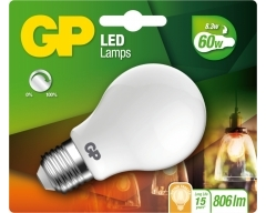 GP LED Lampe, E27, 7W, Classic Frosted DIMMBAR, 080480