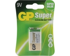 GP 6LR61, 9-Volt Super Alkaline, 9V, E-Block, 1604, Blister