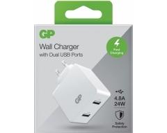 GP WA42, 220V USB Ladestecker mit 2 USB-Anschlüssen 4,8 A Typ-A