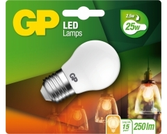 GP LED Lampe, E27, 2,1W, TropfenLampe Frosted, 080459