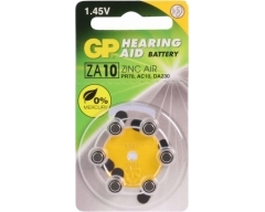 GP AC10, Hörgerätebatterien ZA10, PR70, HA10, DA230, 6er Blister, 1,4V/ 90mAh