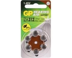 GP AC312, Hörgerätebatterien ZA312, PR41, HA312, DA312, 6er Blister (Brown)