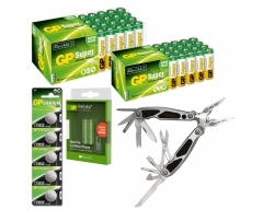 GRATIS-MULTITOOL-Paket: 3x 40er Box LR03, 3x 40er Box LR06, 10x 2er Bl. Akku 650mAh, 3x 5er Bl. CR2032 Lithium, 1x Multitool