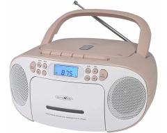 RCR2260 weiß/pink, Boombox mit Radio, MP3/CD, Kassette und AUX-IN