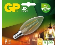 GP LED Lampe, E14, 2,1W, Kerze Filament, 078081