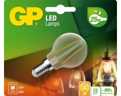 GP LED Lampe, E14, 2,1W, TropfenLampe Filament, 078104