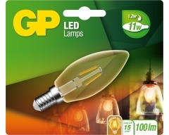 GP LED Lampe, E14, 1,2W, Kerze Filament Gold, 080565