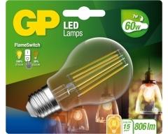 GP LED Lampe, E27, 7W, Classic Filament FlameSwitch, 085317