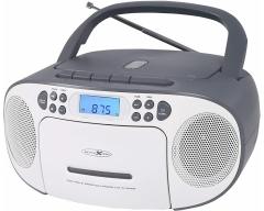 RCR2260 weiß/grau, Boombox mit Radio, MP3/CD, Kassette und AUX-IN