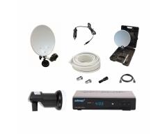 CAMP 2 im praktischen Koffer, 35 cm Spiegel, Single LNC, HD-Receiver ANK DSR 4100 plus, 12V Kabel...