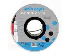 ANK SK-CU 120/100, Koaxialkabel, Antennenkabel, 120dB, 3 fach Schirmung, Vollkupfer, mit Meterbedruckung, 6,8mm, 100m Spule, wei