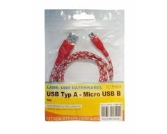 C526-1RL rot, Verbindungskabel, USB A Stecker auf Micro USB B Stecker, 1,0m
