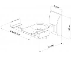 HB5L, Wandhalter-Paar für Lautsprecher, individuell anpassbar (135-280mm)