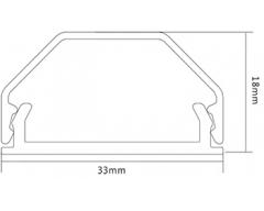 HZ3-0,75L, 0,75m Kabelkanal aus Aluminium, 33 mm. 2-teilig, schwarz