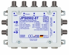 JPS0502-8T, 5 Eingänge, terminiert,  2x Ausgänge für je 8x Unicable Adressen oder 2 Legacy