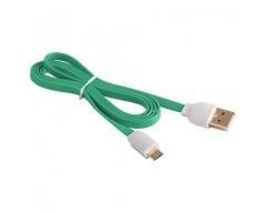 MBFL-20 grün, USB - Micro-USB-Flachkabel, 2,0m