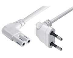 N8-0,3WL ,Winkel-Eurostecker - Winkel Doppelnutkupplung  0,3 m Super platzsparend!  H03VVH2-F, 2x 0,75 mm²,  weiß
