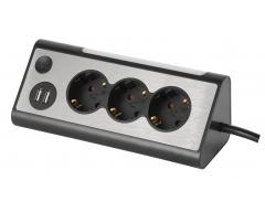 NV70-1,5L, 3-fach Eck-Mehrfachsteckdose, 1,5m, schwarz