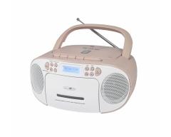 RCR2260DAB weiß/pink, Boombox mit DAB+ Radio, Kassette, CD, MP3, USB und AUX-In