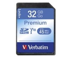 VERBATIM, SDHC-Card 32GB, Premium, Class 10, U1, UHS-I, 45MB/s, 300x, Retail-Blister