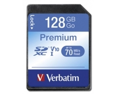 VERBATIM, SDXC-Card 128GB, Premium, Class 10, U1, UHS-I, 45MB/s, 300x, Retail-Blister