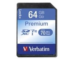 VERBATIM, SDXC-Card 64GB, Premium, Class 10, U1, UHS-I, 45MB/s, 300x, Retail-Blister