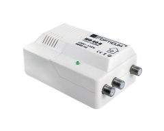 Opticum WA-20R, Hausanschlussverstärker, regelbar, UKW, DAB+, DVB-T, +26dB, Ausgang 105dBuV, integrierter 2fach Verteiler