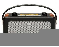 Vintage, DAB+ / UKW RDS Designradio mit eingebautem Batterie-Ladegerät, schwarz / Holz