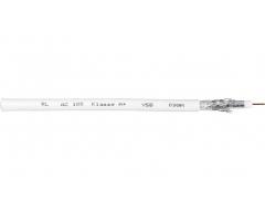 AC100 100m/Weiß, Cu-Koaxialkabel >120 dB, Klasse A+, Dreifachgeschirmt, Kupfer-Innenleiter