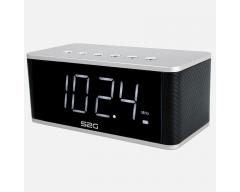 S2G WAKE UP silber/schwarz, Stereo-Bluetooth-Lautsprecher, FM-Radio, Display, Uhr, Alarm